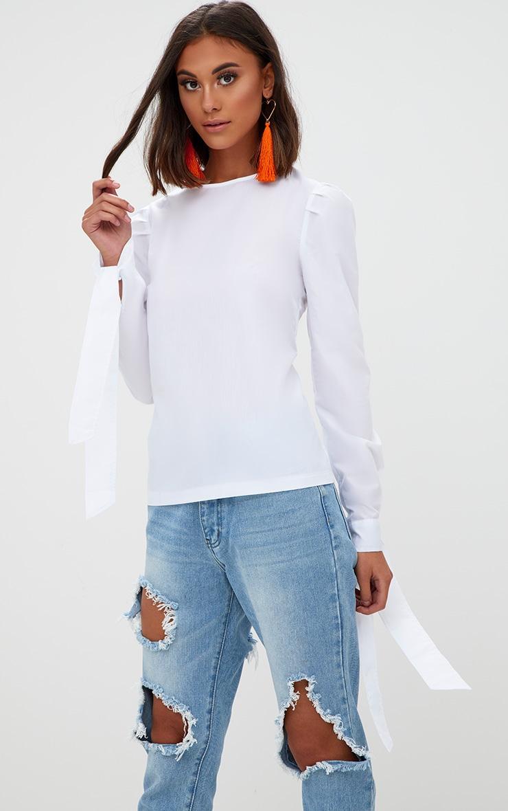 White Stripe Corset Back Tie Sleeve Shirt 2