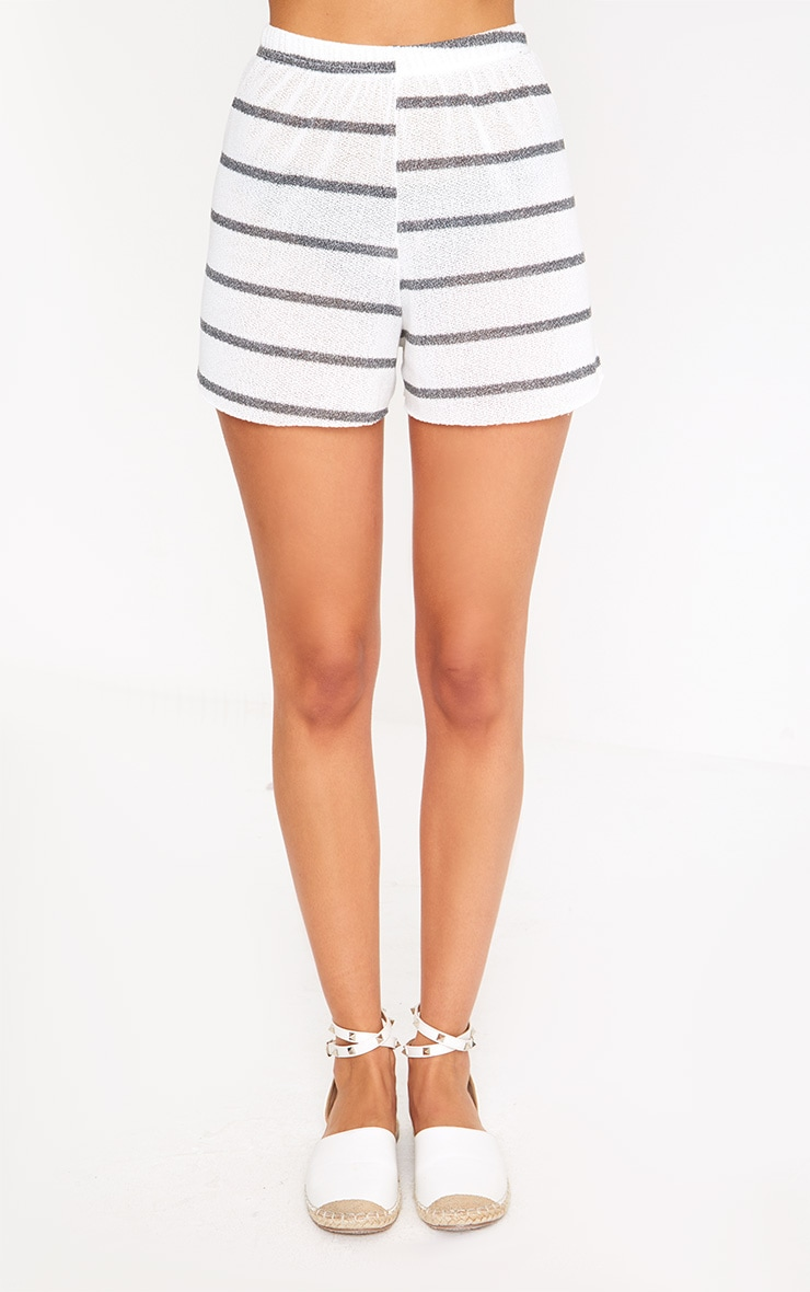 White Stripe Lightweight Knit Floaty Shorts 2
