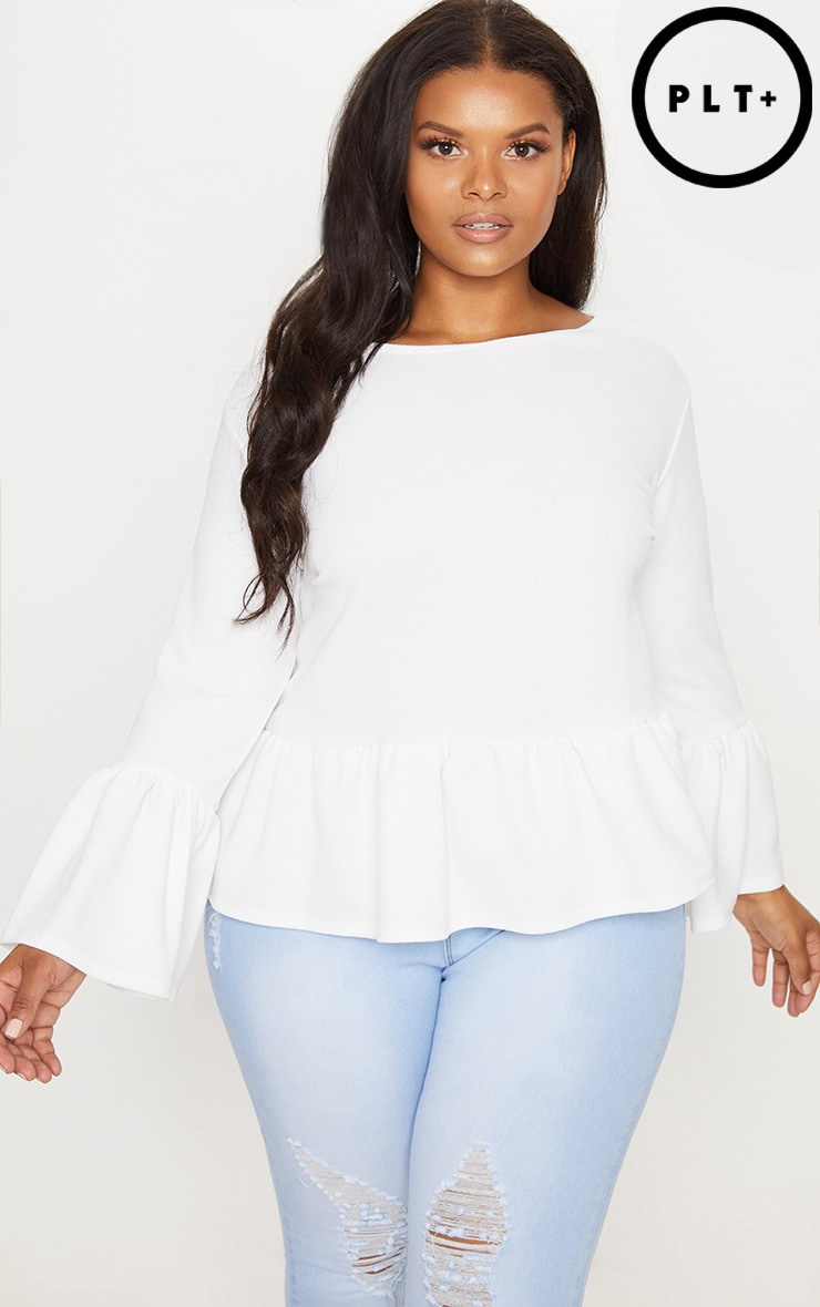 Plus White Frill Sleeve Top