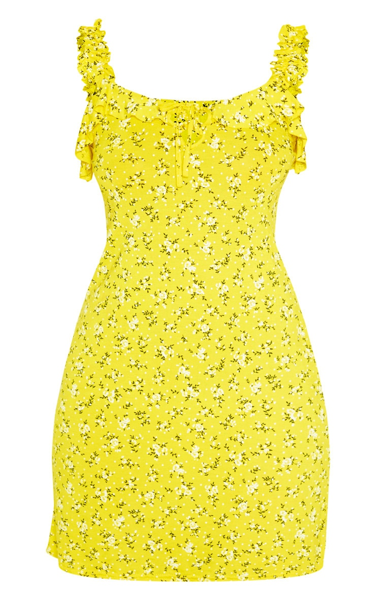Yellow Ditsy Floral Frill Detail Shift Dress 3