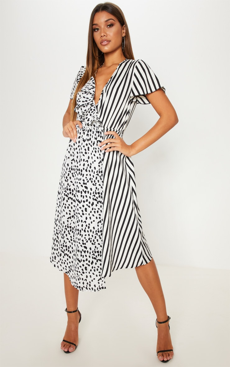 White Mixed Print Wrap Midi Dress 1