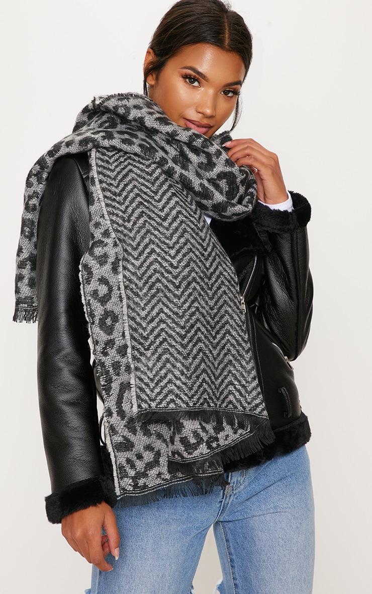Grey Leopard Scarf 1