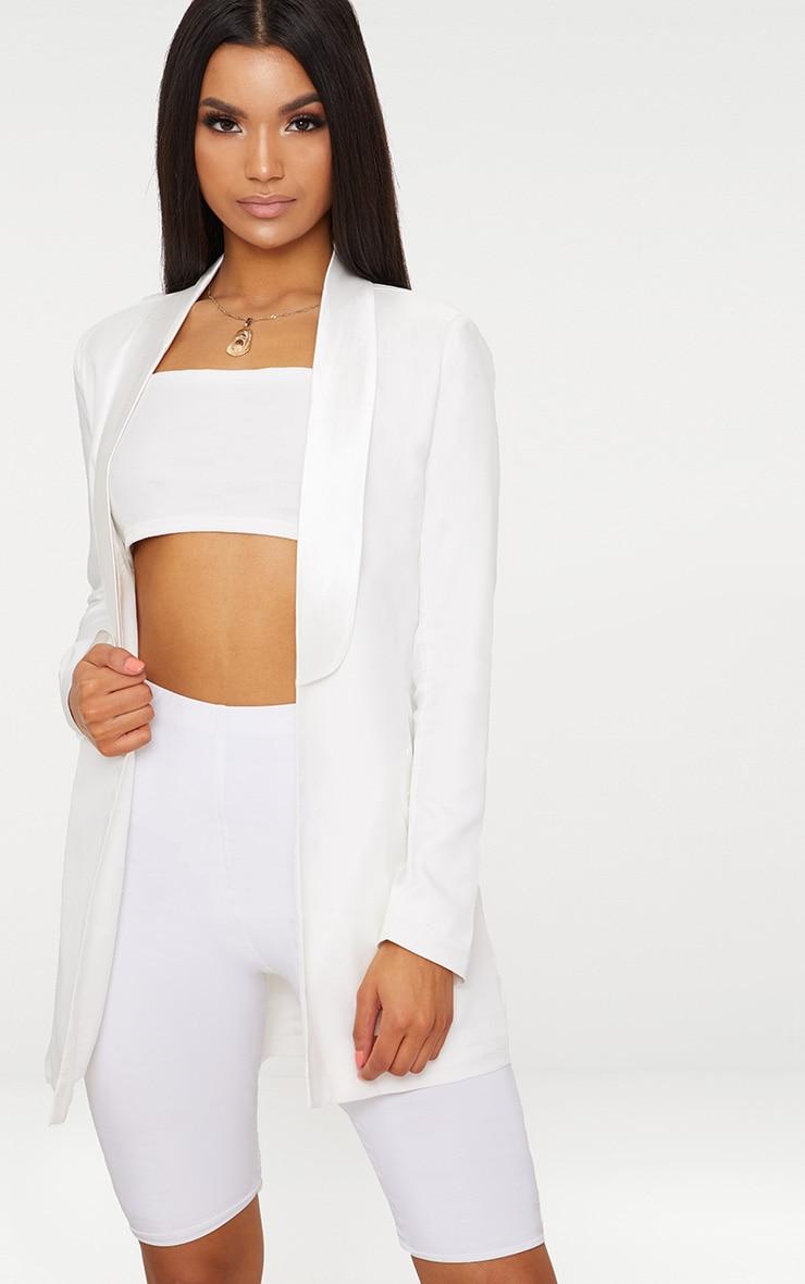White Satin Lapel Longline Blazer 1