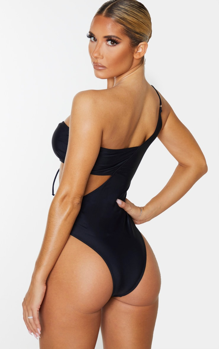 Black Lace Up Asymmetric Swimsuit 2