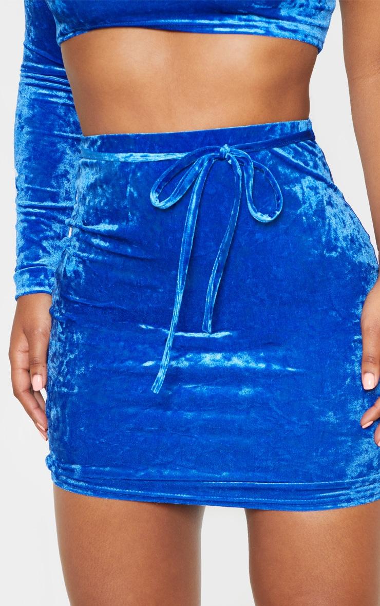 Blue Velvet Tie Detail Mini Skirt 6