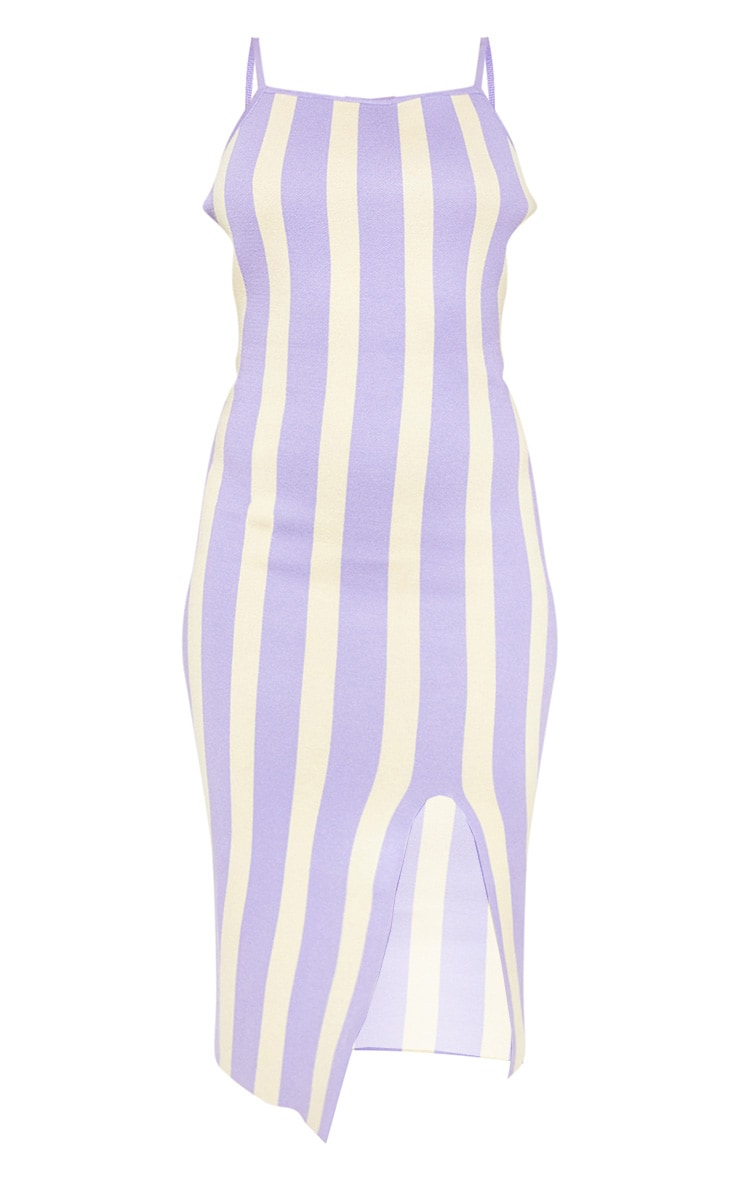 Lilac Stripe Detail Knitted Midi Dress 3