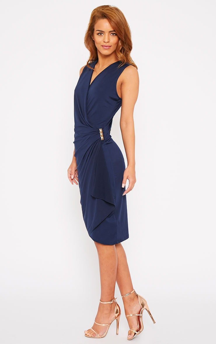 Clarissa Navy Wrap Front Midi Dress 1