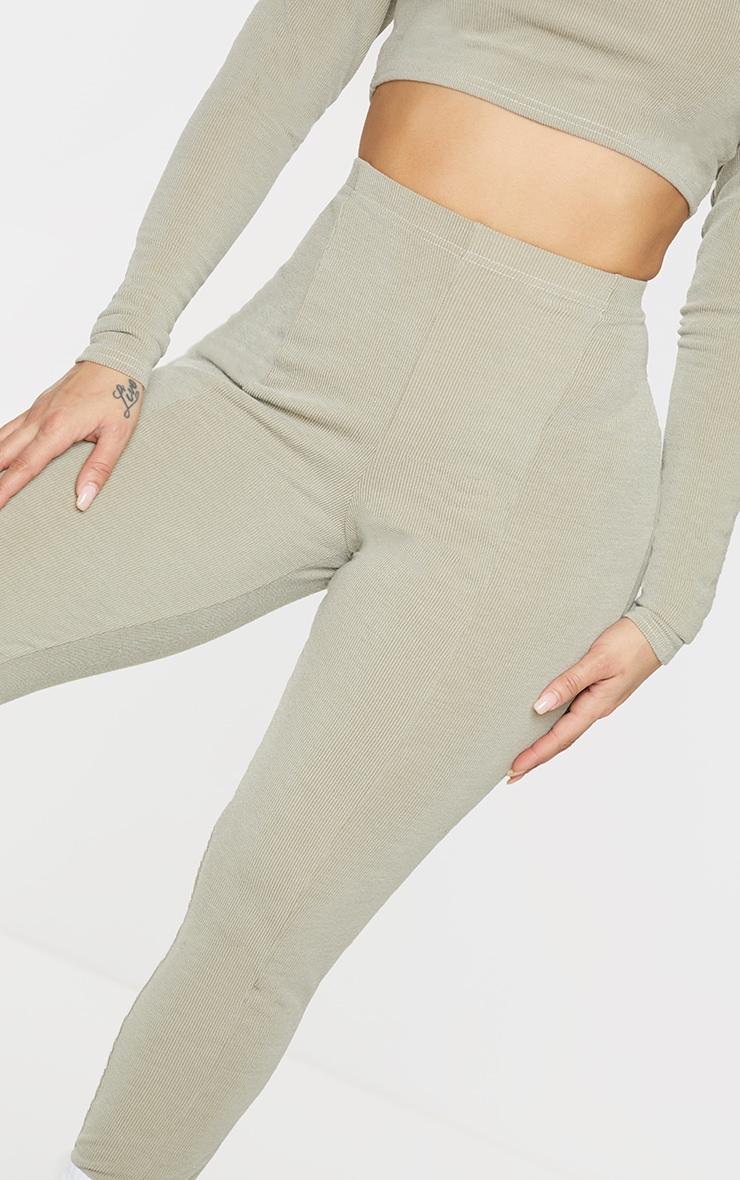 Shape Sage Green Soft Rib Seam Detail Leggings 4