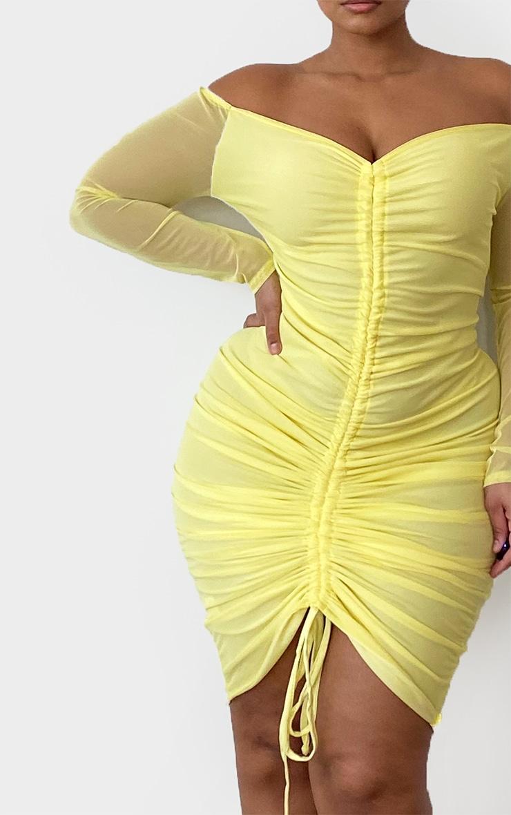 Plus Lemon Mesh Ruched Bardot Midi Dress 4