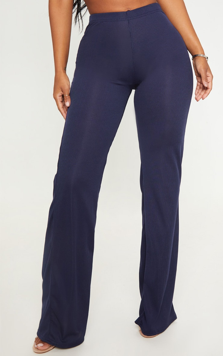Shape Navy Ribbed Wide Leg Trousers 2
