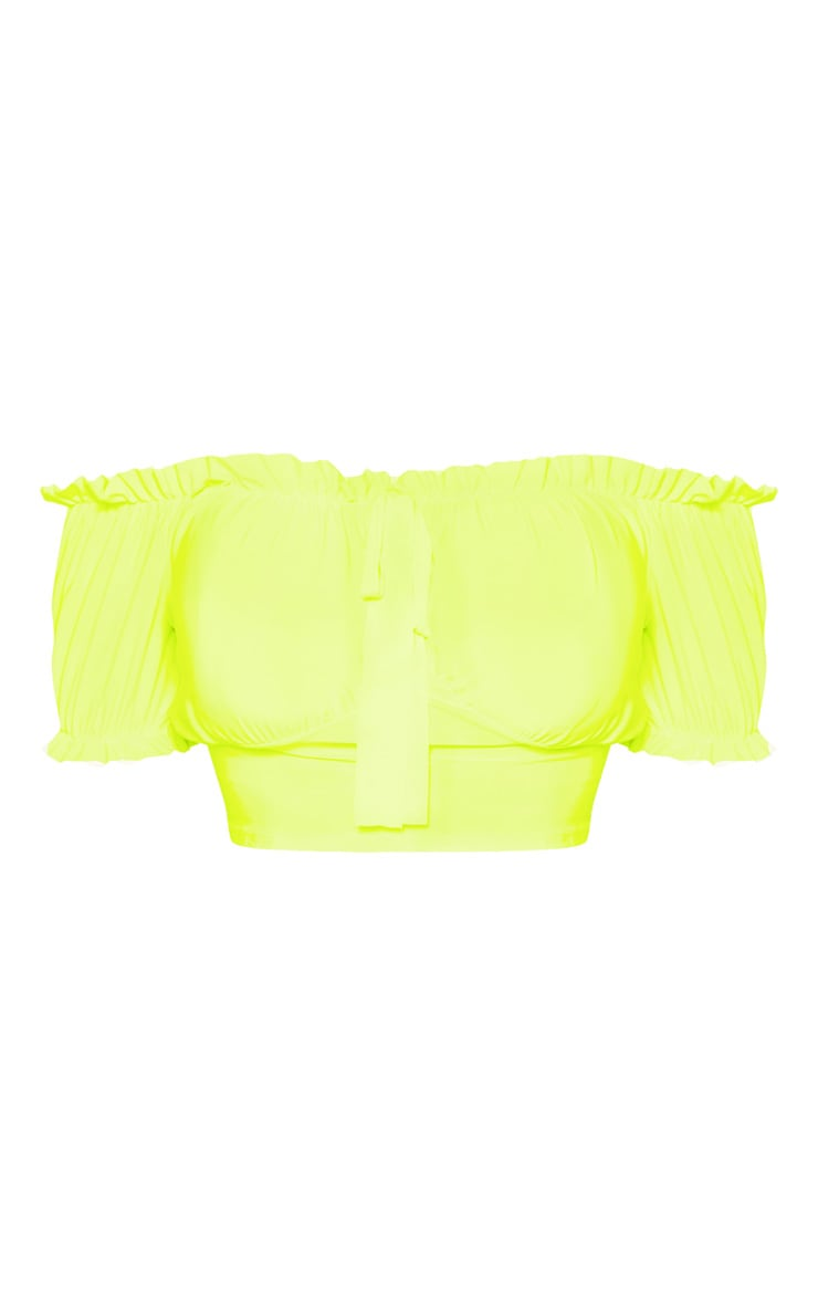 Neon Yellow Ruffle Trim Tie Top 3