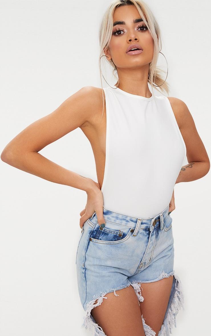 White Crepe Side Boob Thong Bodysuit 2