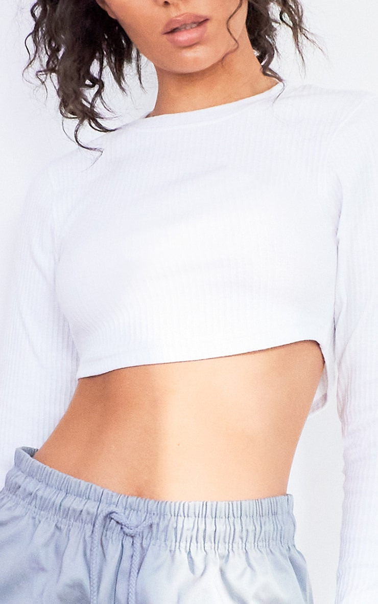 White Textured Rib Long Sleeve Crop Top 4