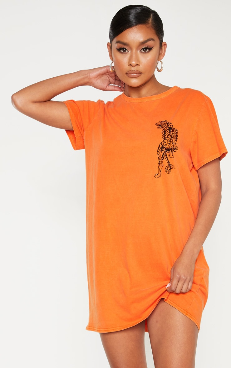 Orange Tiger Printed T Shirt Dress 1