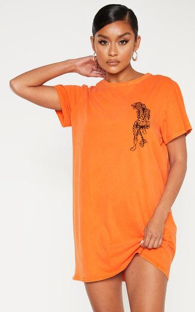 Orange Tiger Printed T Shirt Dress