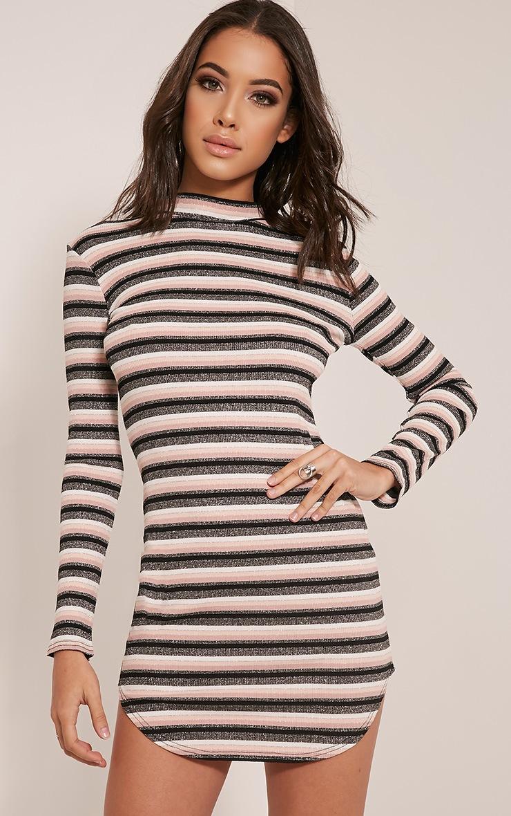 Chessia Dusty Pink Lurex Stripe Bodycon Dress 1
