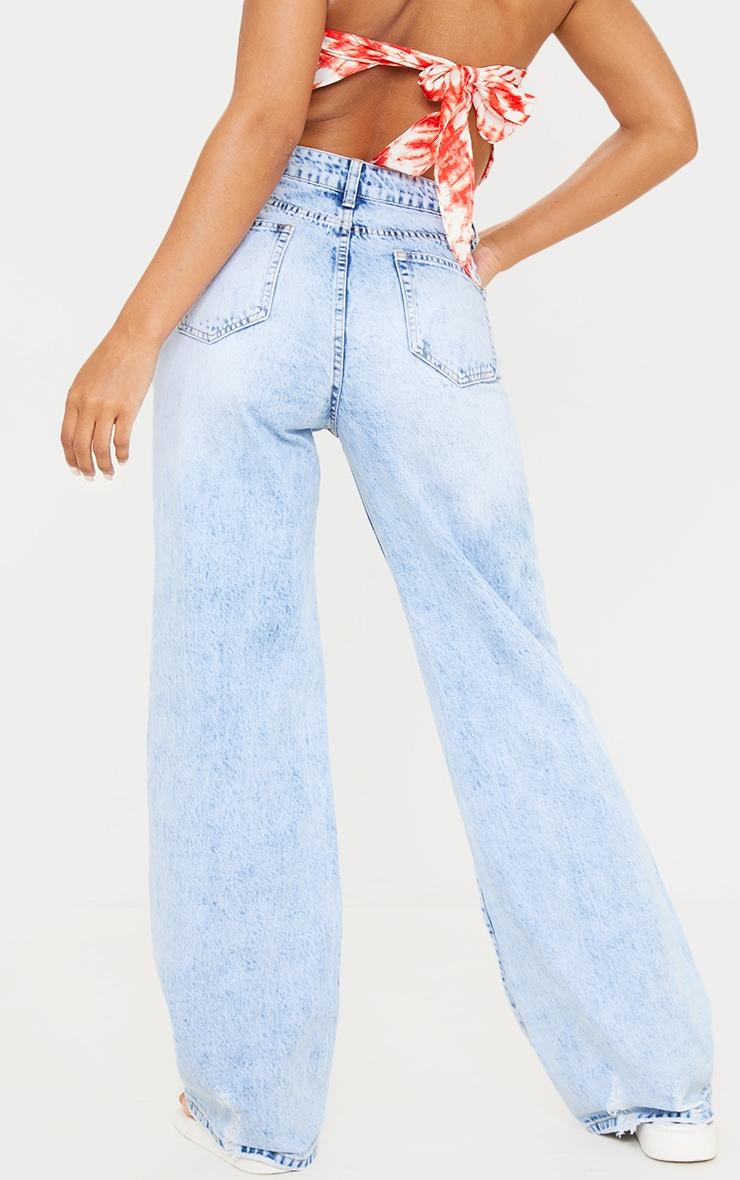 Ice Blue Wash Ripped Hem Wide Leg Jeans 3