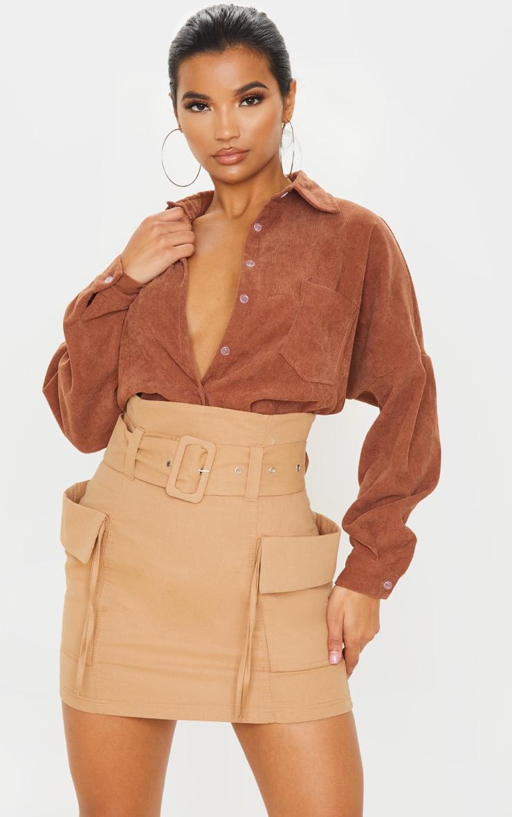 Stone Belted Pocket Detail Cargo Mini Skirt  1