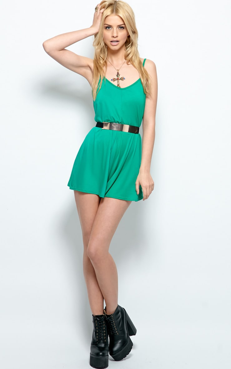 Isabel Green Strappy Swing Playsuit 3