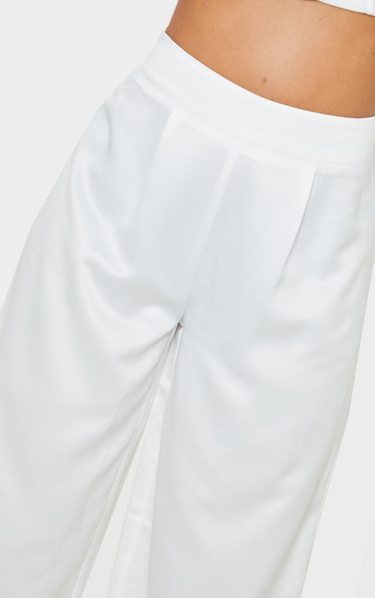 Petite White Satin Wide Leg Trouser  4