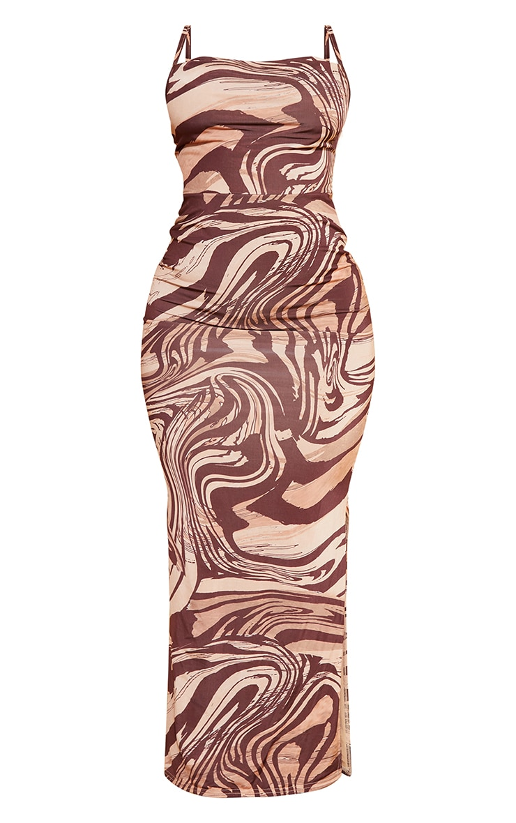 Shape Stone  Marble Print Slinky Cowl Neck Midaxi Dress 5