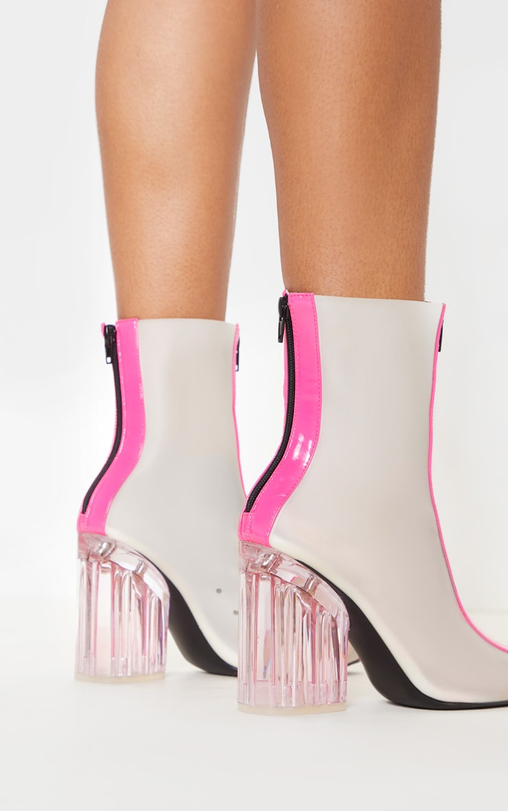Neon Pink Zip Front Clear Heel Ankle Boot 2