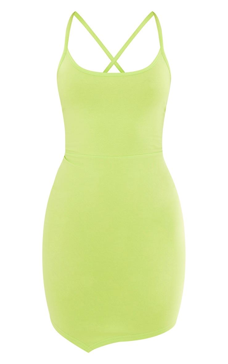 Light Lime Strappy Pointy Hem Lace Up Back Bodycon Dress 5
