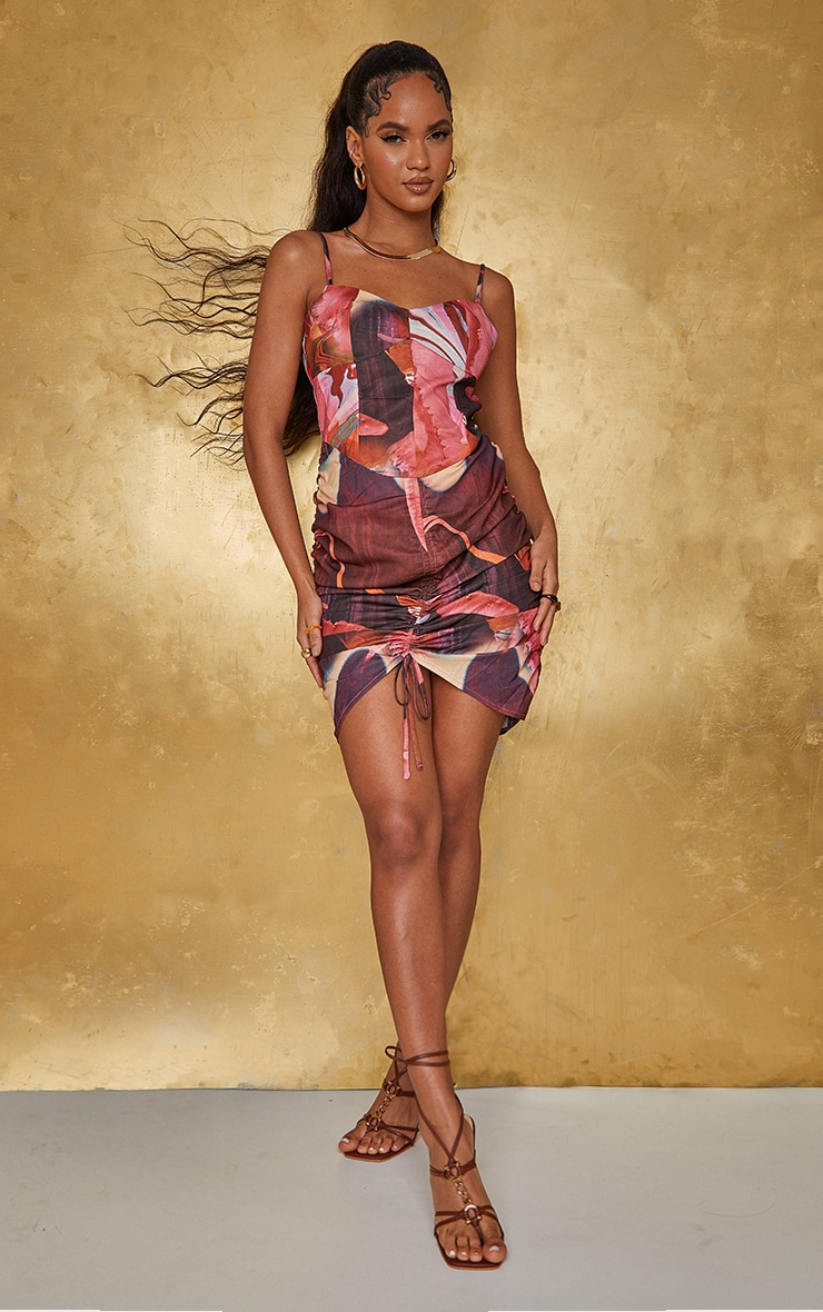 Pink Abstract Print Woven Strappy Ruched Bodycon Dress 1