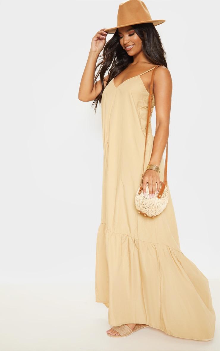 Camel Low Back Ruffle Hem Maxi Dress 4