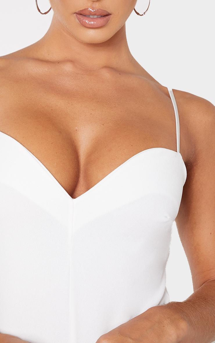 White Sweetheart Neck Strappy Bodysuit 5
