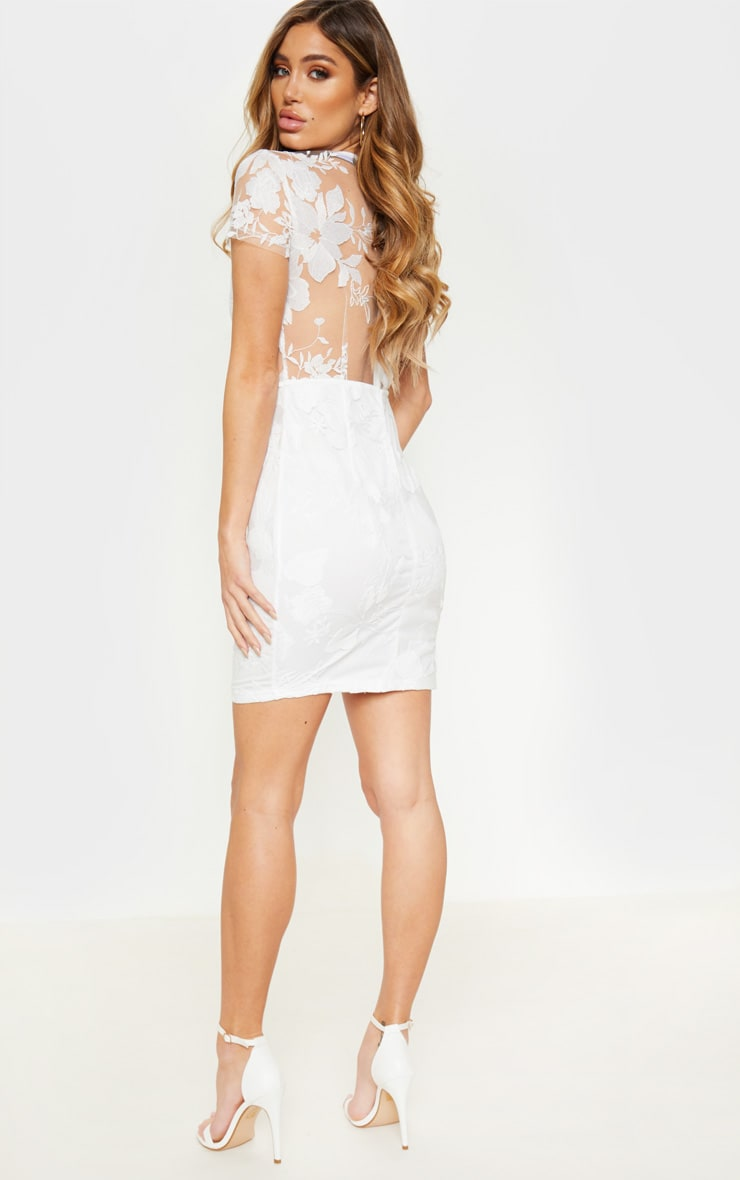 White Embroidered Cup Detail Floral Bodycon Dress 2