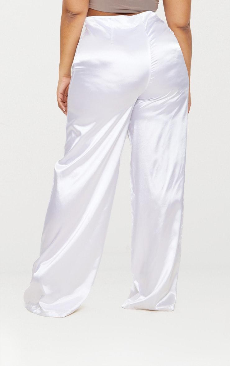 Plus White Satin Wide Leg Trousers 4