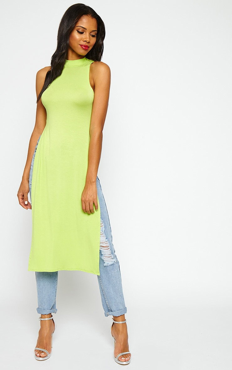 Ane Lime High Neck Split Side Top 3