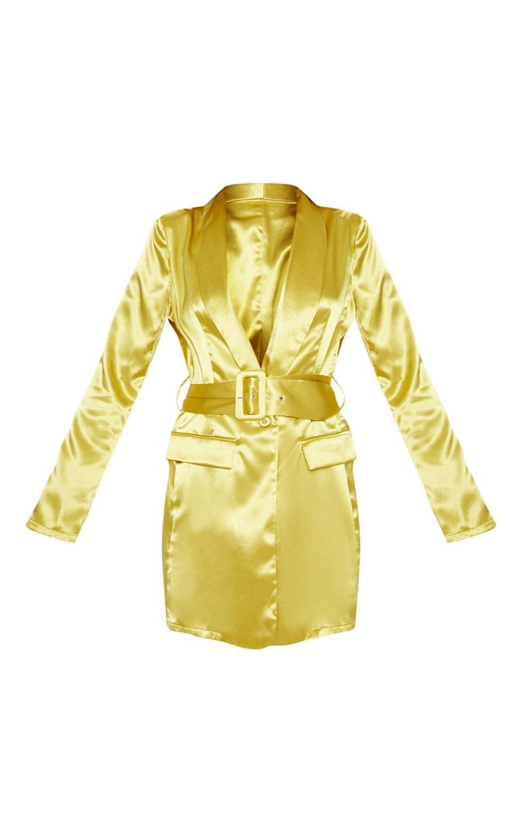 Chartreuse Satin Belted Blazer Dress 3