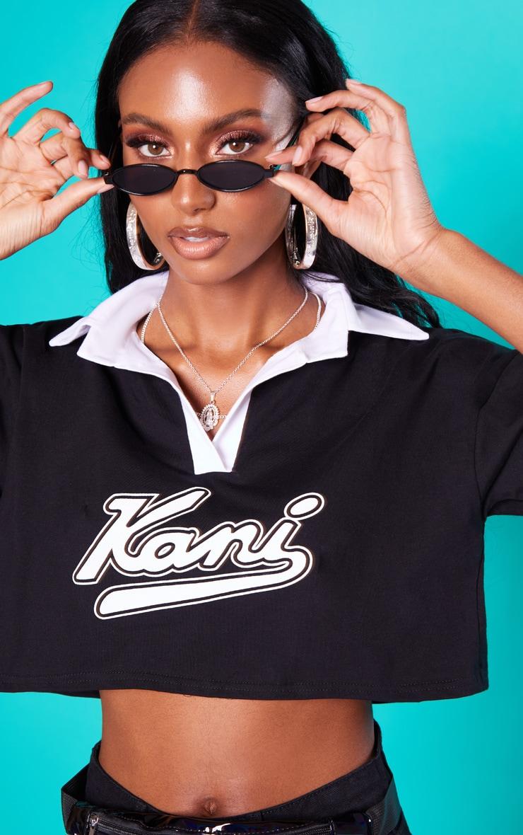 KARL KANI Black Crop Rugby T-Shirt 6