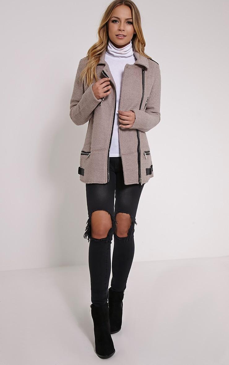 Keeva Mauve Faux Wool Biker Style Jacket 3