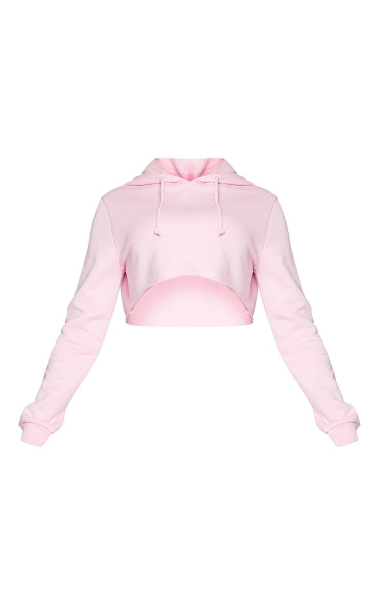 Recycled Basic Baby Pink Slim Crop Hoodie 5