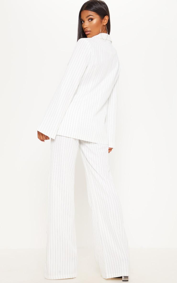 Cream Pinstripe Longline Oversized Woven Blazer 2