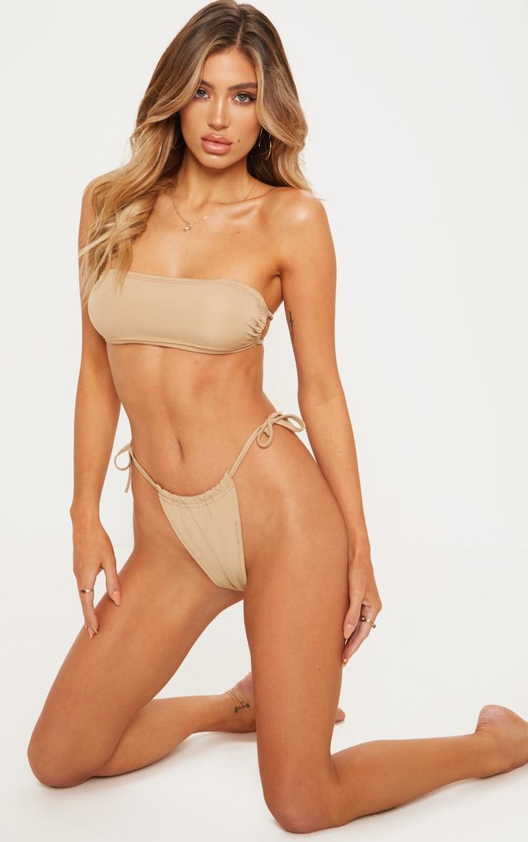 Nude Ruched Super High Bikini Bottom 2
