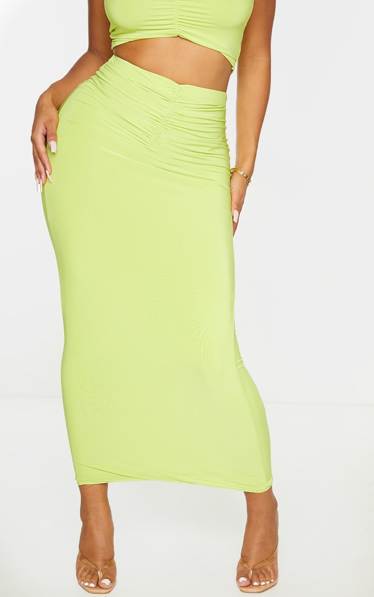 Shape Lime Slinky Ruched Front Midaxi Skirt 2