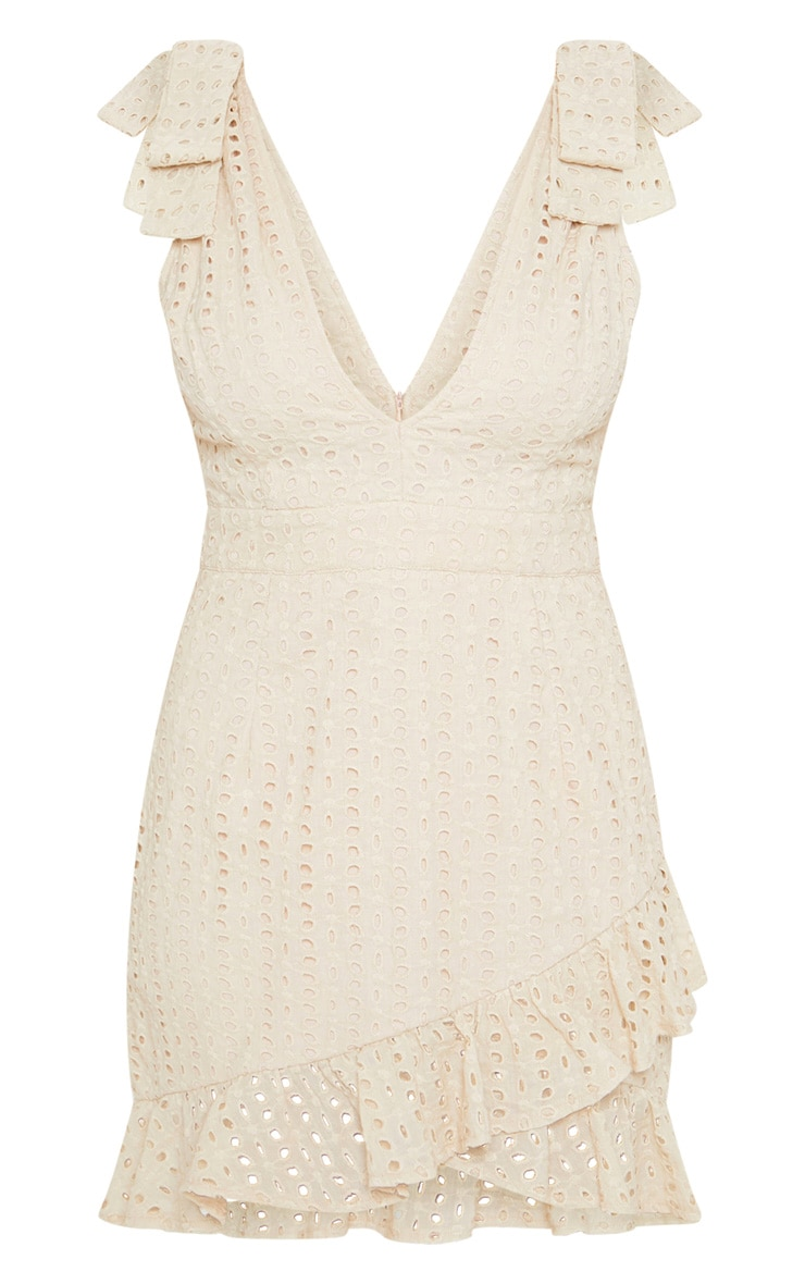 Nude Broderie Anglaise Strap Detail Frill Hem Shift Dress 3
