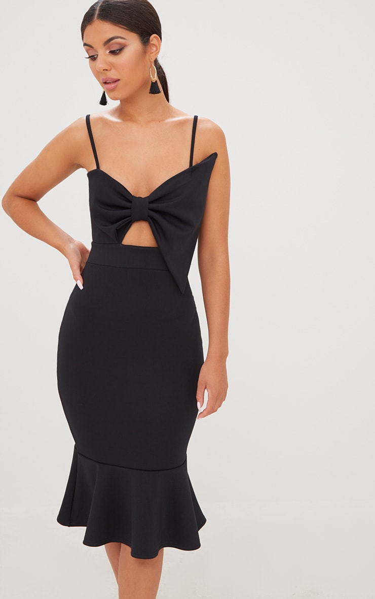 Black Strappy Bow Detail Fishtail Midi Dress 1