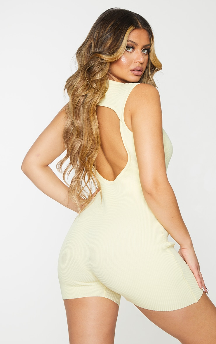 Lemon Ribbed Knitted Cut Out Unitard 2