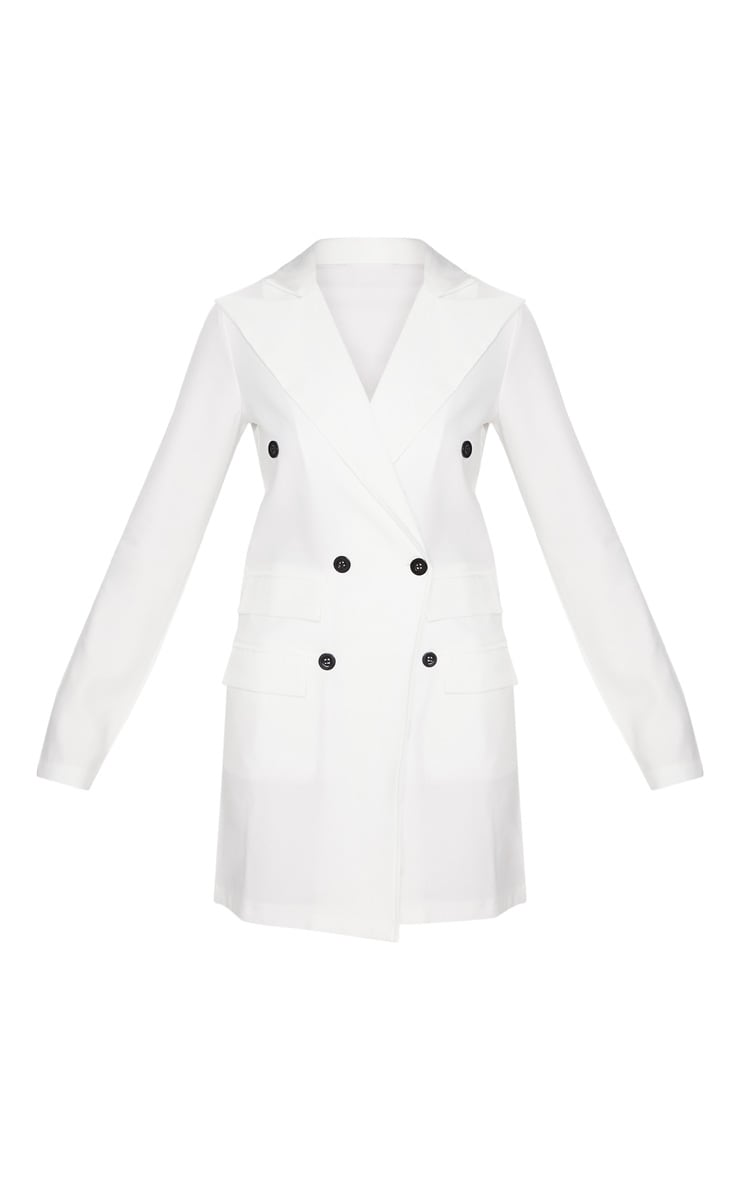 White Pocket Detail Blazer Dress 3