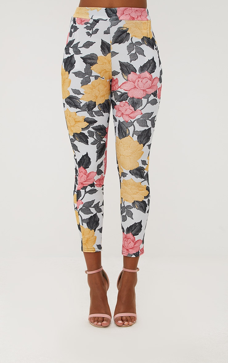 Grey Large Floral Skinny Trousers 2