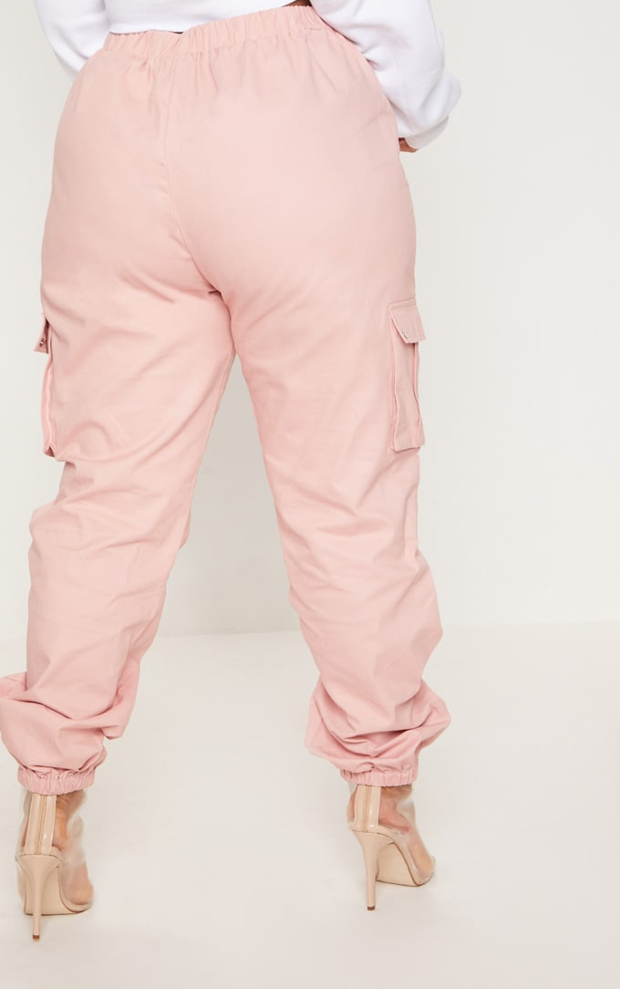 Plus Dusty Pink Pocket Detail Cargo Trousers 3