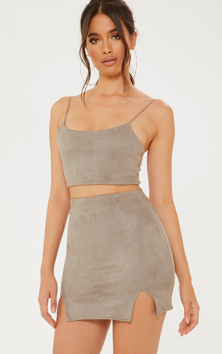 Grey Faux Suede Crop Top 1