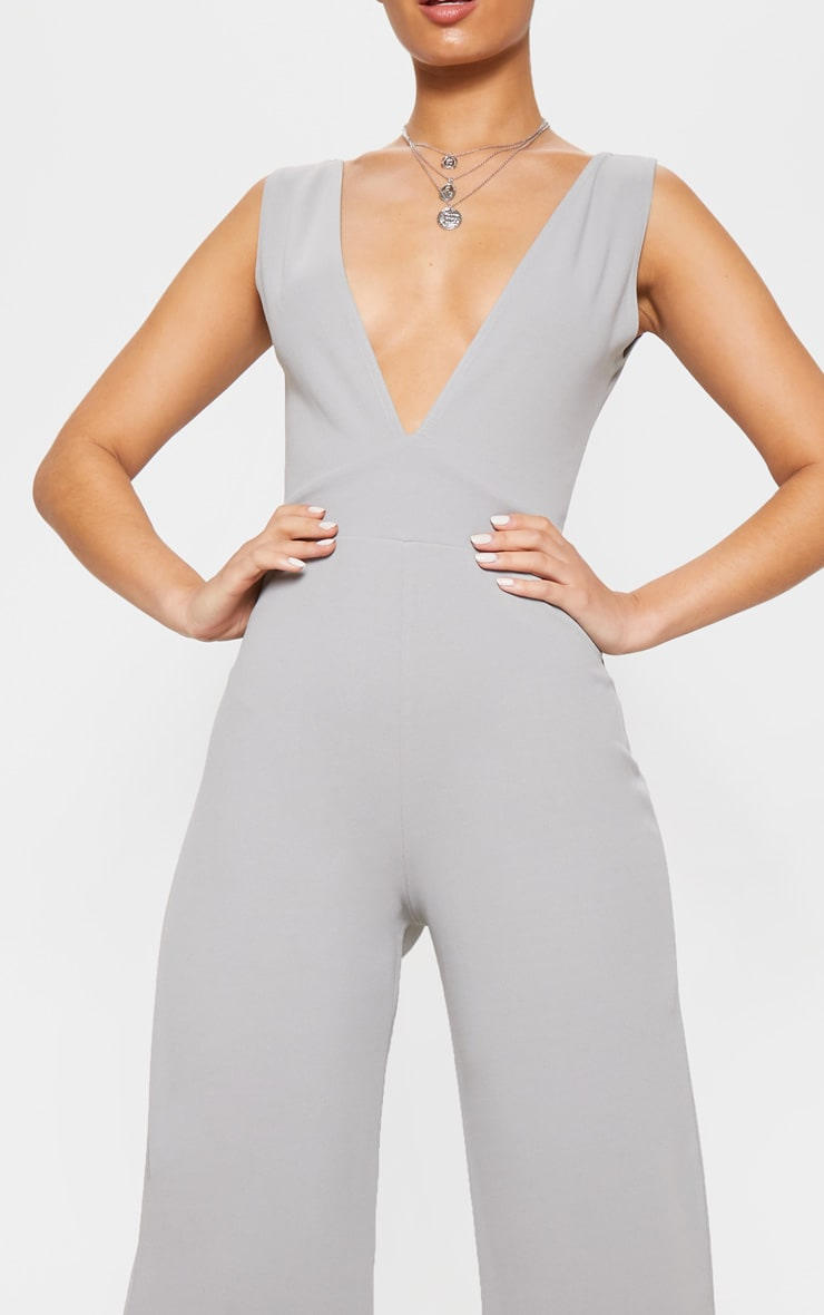 Dove Grey Plunge Backless Wide Leg Jumpsuit 5
