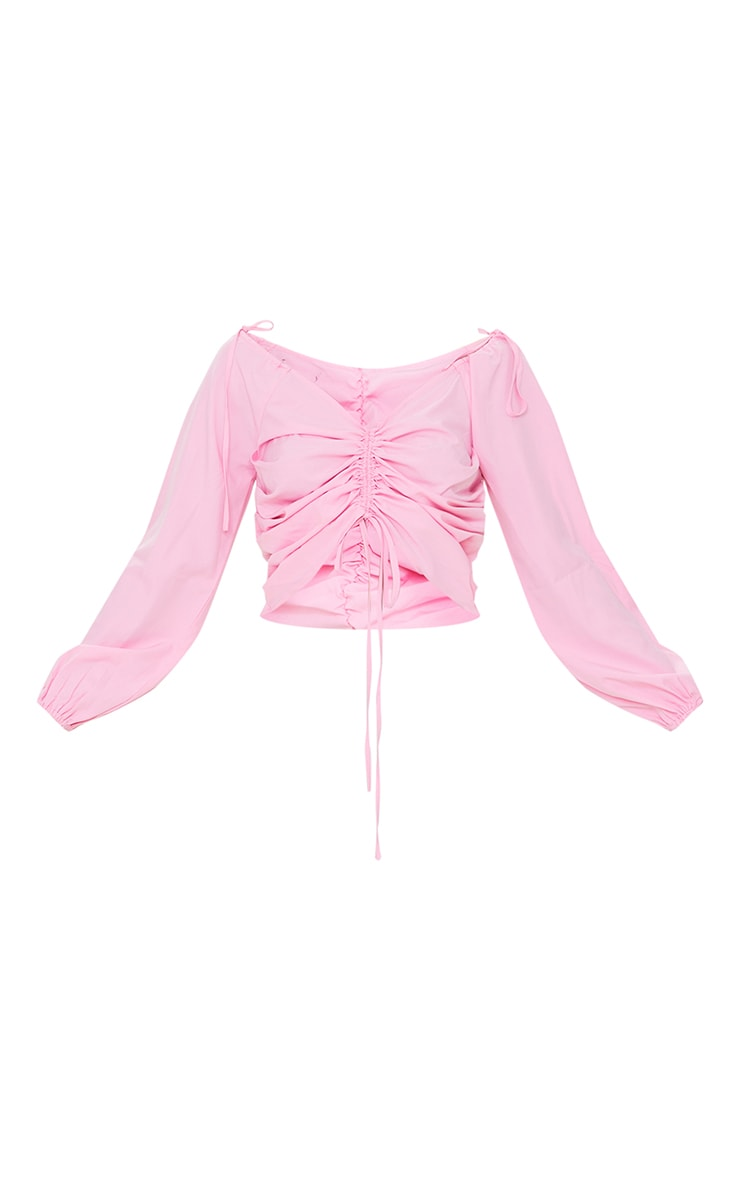 Candy Pink Oversized Sleeve Woven Ruched Blouse 5