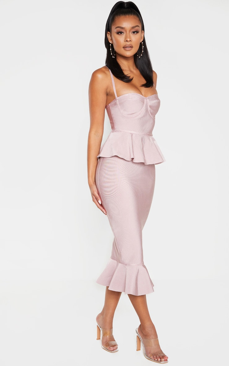 Dusty Lilac Strappy Peplum Frill Hem Bandage Midi Dress 3